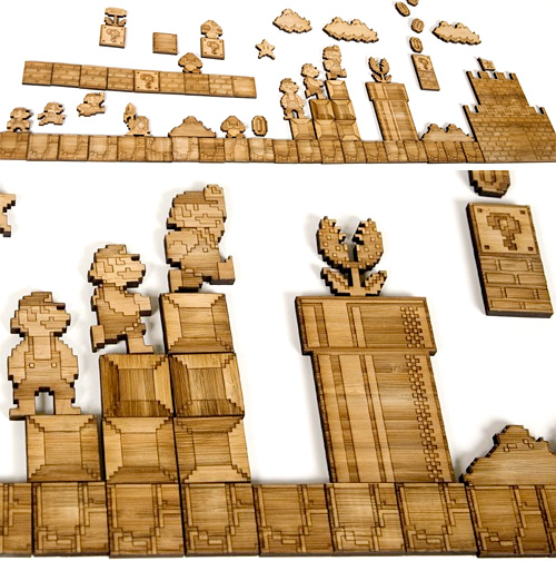 Laser-Etched Bamboo Mario Sprite Set (Images courtesy Etsy)