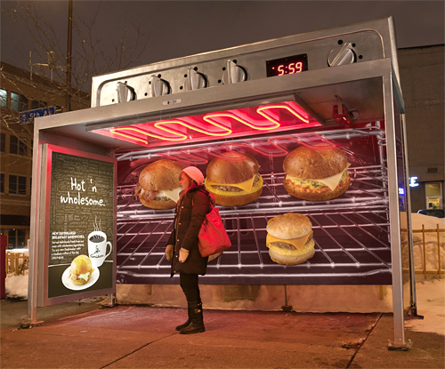 Caribou Coffee Bus Shelter Advertisement (Image courtesy AdRANTS)