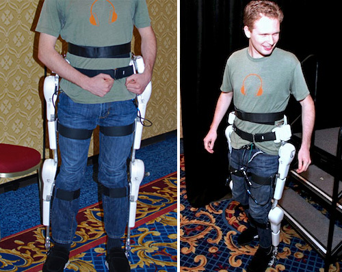 Evan Ackerman Tries on the HAL Suit (Images courtesy IEEE Spectrum)