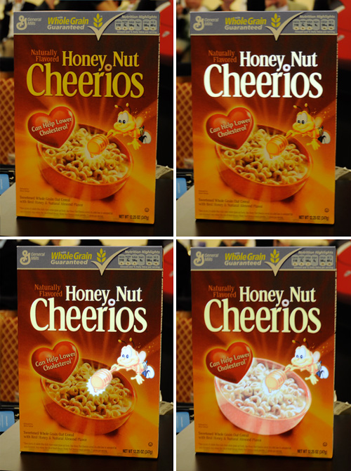 Electroluminescent Induction Powered Cereal Box (Images property OhGizmo!)