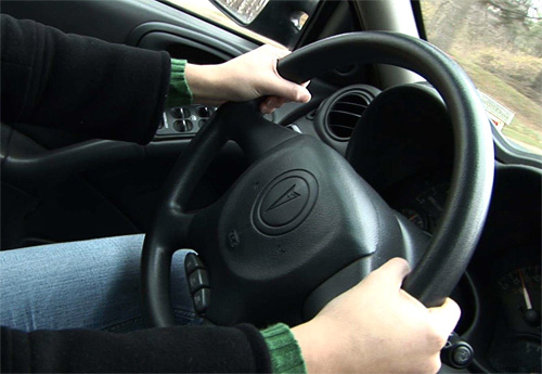 Hands-on Steering Wheel (Image courtesy Driver's Ed Guru)