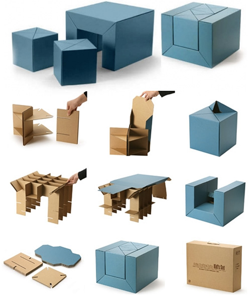 C.F.S. Eco-Friendly Cardboard Kids Furniture Set (Images courtesy Emmo Home)
