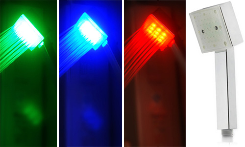 Water-Powered Color-Changing LED Shower Head (Images courtesy Chinavasion)
