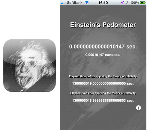 Einstein's Pedometer (Images courtesy iTunes App Store)
