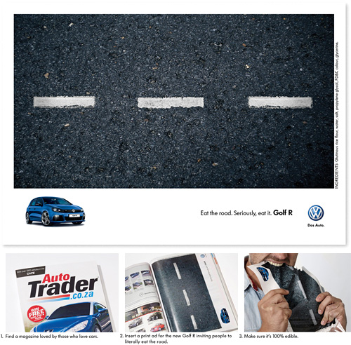 Volkswagen's 'Eat The Road' Campaign (Images courtesy Ads Of The World)