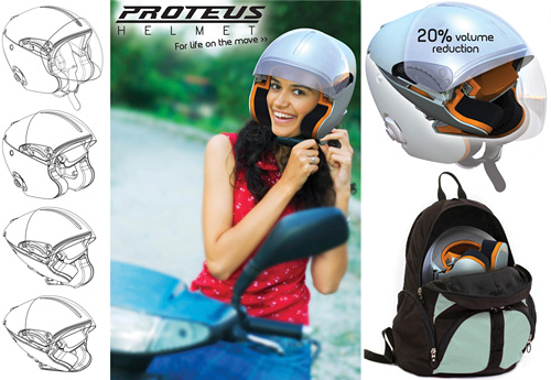 Proteus Folding Motorcycle Helmet (Images courtesy James Dyson Award)