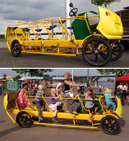 Pedal Powered School Bus (Images courtesy Bicycle Design)