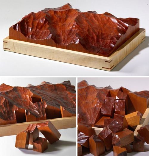 Hand Carved Mahogany Topographic Puzzle (Images courtesy Etsy)