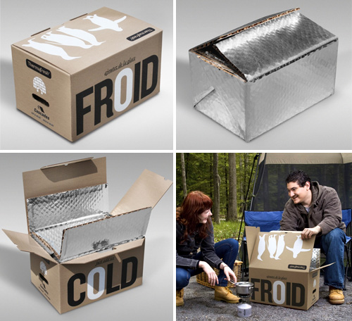 Recycled Cardboard Cooler Boxes (Images courtesy Cascades)