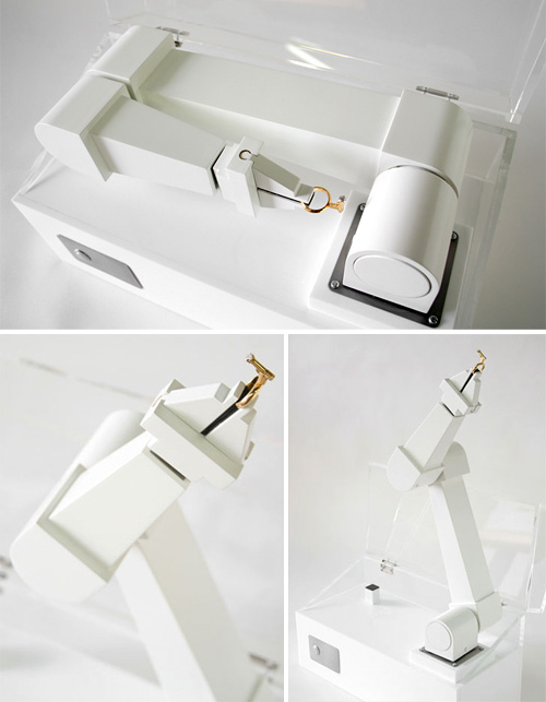Lady Killer Vol.1 Robotic Arm Ring Box (Images courtesy Atelier Ted Noten & Laikingland)