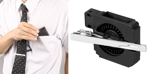 Tie Clip Cooling Fan (Images courtesy Thanko)