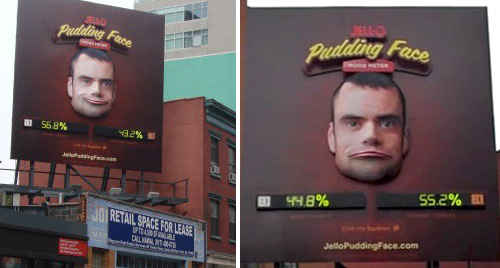 Jell-O's Pudding Face Billboard (Images courtesy PSFK & Adweek)