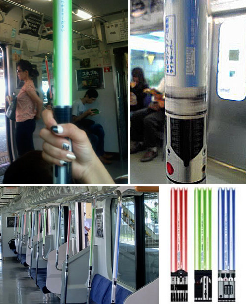 Trains In Tokyo Upgraded With Lightsaber Railings (Images courtesy Japan Trends)