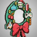 8-Bit Holiday Wreath Announces Your Gaming Affiliations Proudly