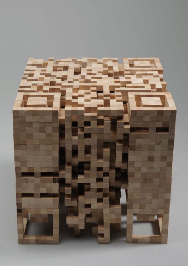 3d Qr Cube Stool Looks Like It S Made From Jenga Blocks