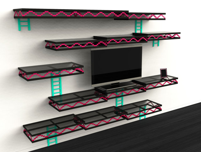 Donkey kong inspired wall shelves unfortunately not for for Decoracion gamer