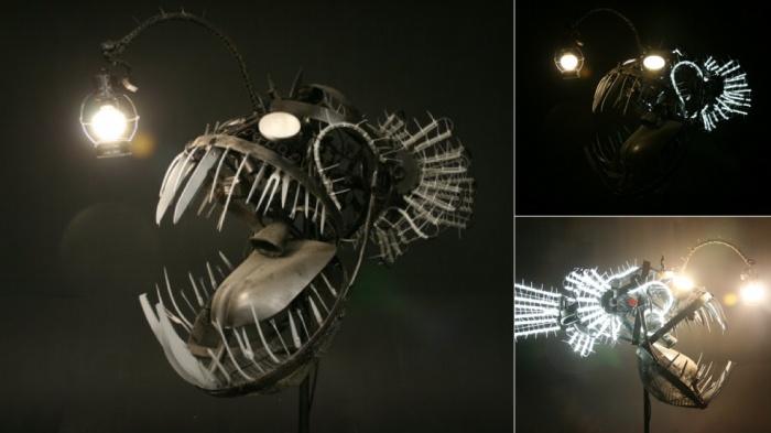 Giant Junkyard Fish Lamp