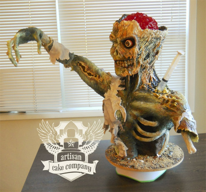 Zombie Rice Krispies Cake