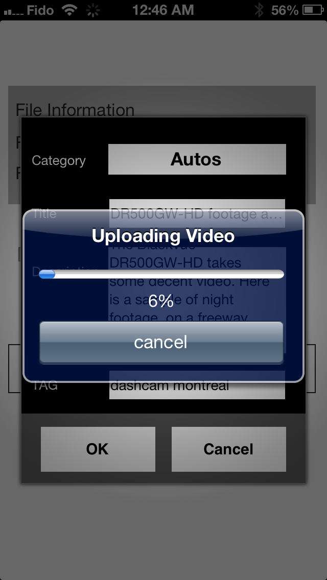 Uploading a video