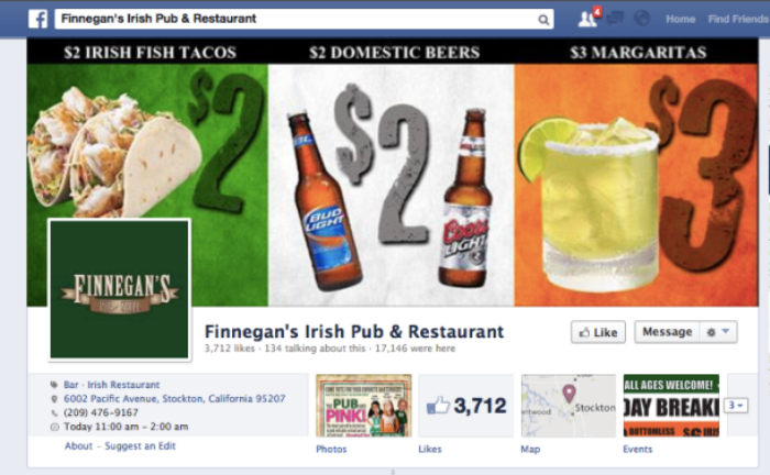 Finnegan Pub Facebook
