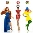 Women Fashionably Dressed as Web Browsers