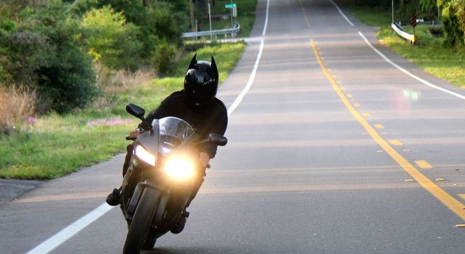Batman Dark Knight Motorcycle Helmet - Real User Riding Motorbike Picture