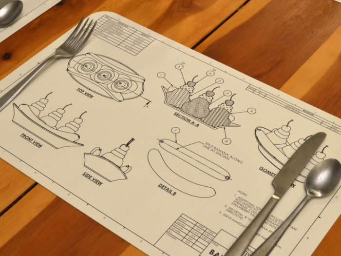 Food Blue Print Place Mats1