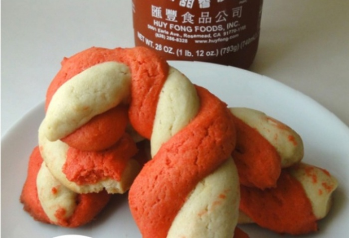 Sriracha-Twisted Candy Cane Cookies