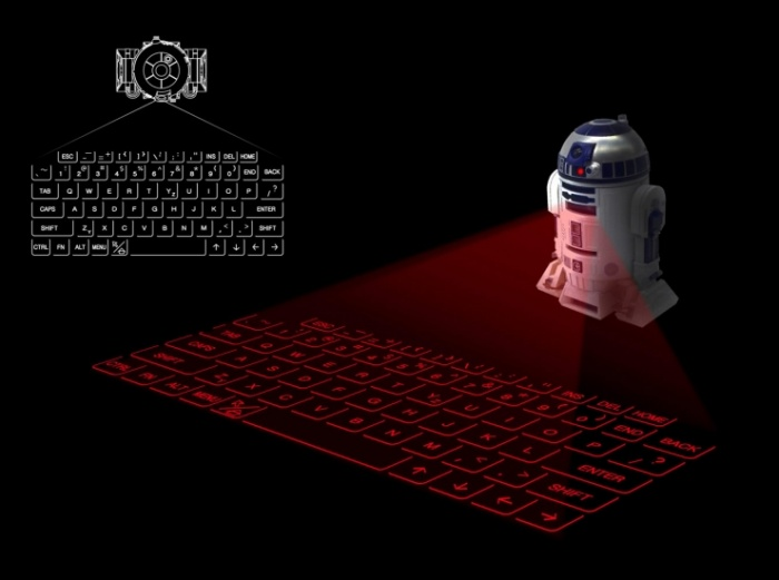 R2-D2 infrared-projecting keyboard
