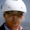 Futuristic Industrial Helmet Features HUD