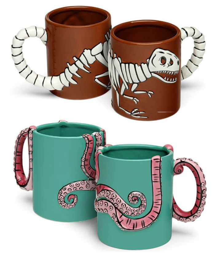 3-D Tyrannosaurus Rex Fossil And Octopus Coffee Mugs