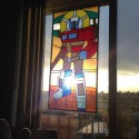 Transformers Art: 'Saint Optimus Of Prime' Stained Glass Window