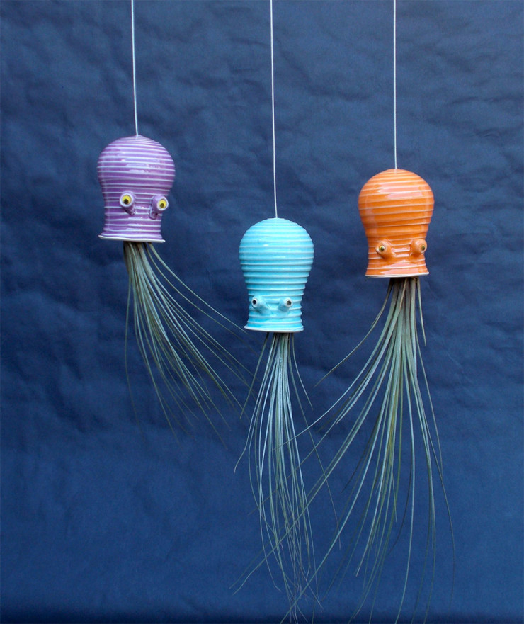 Jellyfish Air Plant Holders 4 Pack: Ceramic Jellyfish And Squid Plant Holders Are Awesome