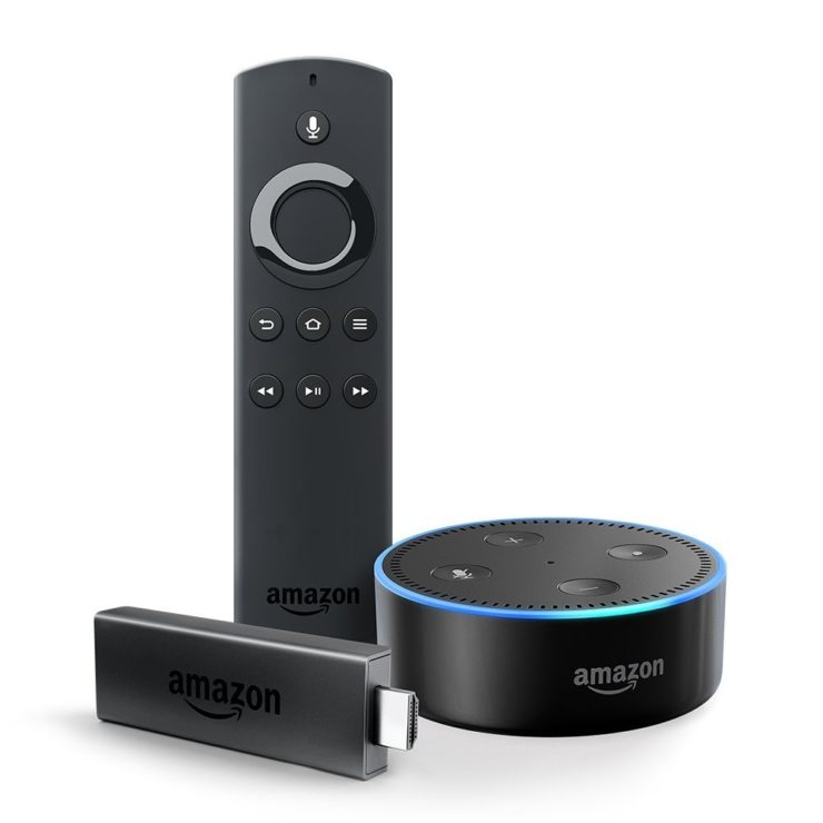 Fire TV Stick, an Alexa Voice Remote, and an Echo Dot