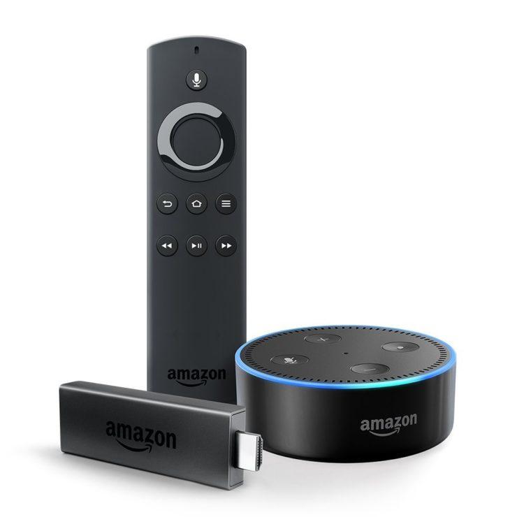 Fire TV Stick, an Alexa Voice Remote, and an Echo Dot